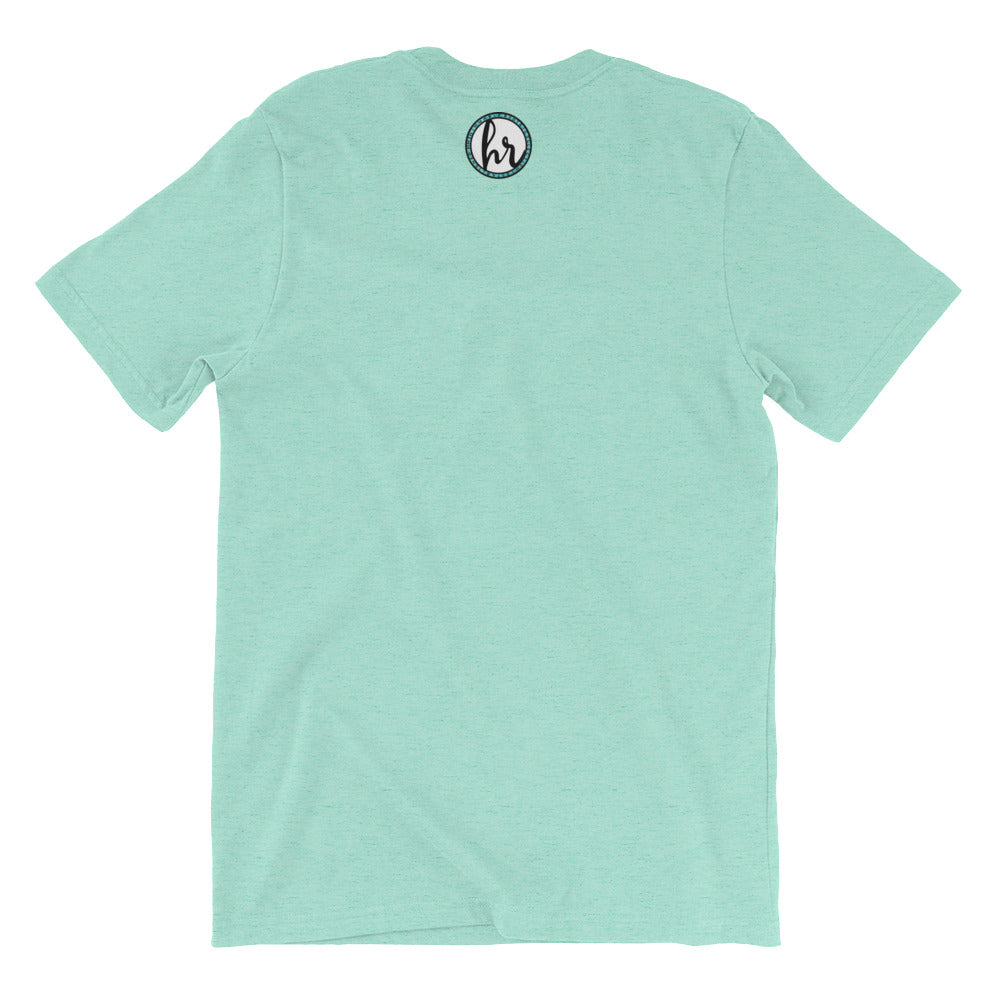 HRC logo back of t-shirt heather mint