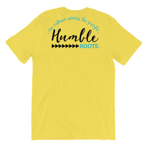 HRC logo back of t-shirt yellow