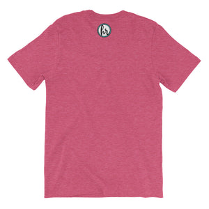 HRC logo back of t-shirt heather raspberry