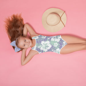 Lavender Palms All-Over Print Kids Swimsuit