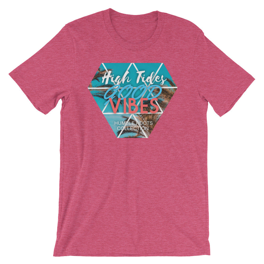 High tides front of t-shirt heather raspberry