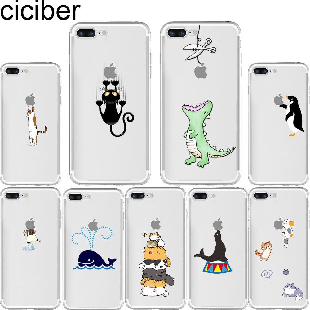 promo code bf6f8 60916 ciciber Cute Animals Soft Silicone Phone Cases Cover for Iphone 6 6S 7 8  plus X 5S SE