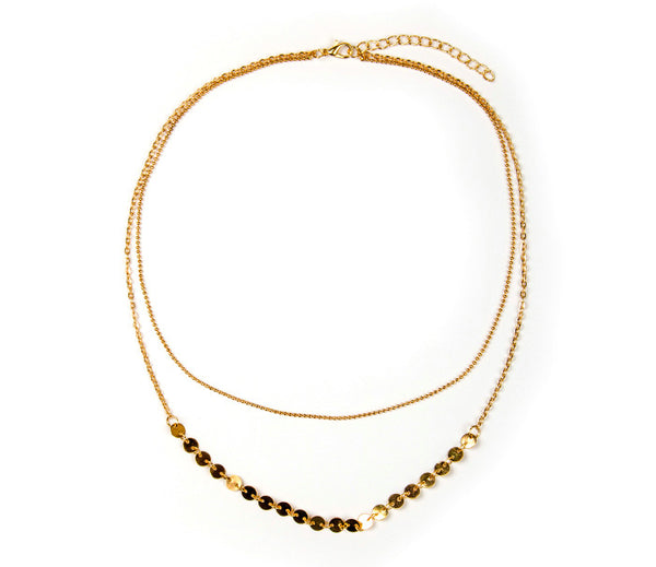 Two gold link chains, one designed with small gold medallions, a cute look. ~18""