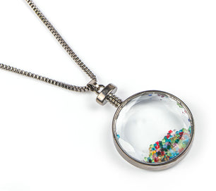 Tiny multi colored crystals are a unique to this beautiful necklace.