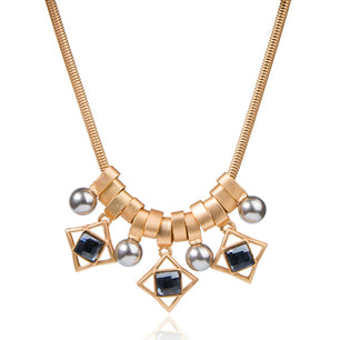 Circle, squares and vegan pearls oh my! Gold plated, perfect statement necklaces. adjustable. ~17""