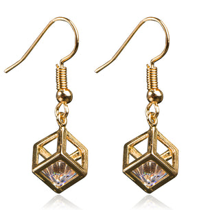 A gold cube encases a lovely crystal, in drop earrings and a pendant necklace to match.