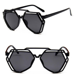 Fun and fabulous shades with a heptagon shape design, in classic black tint, gray and an ombre orange color. black