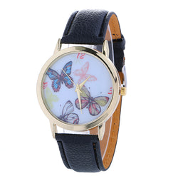 Cute and sweet this watch feature a vegan leather strap, and face design with butterflies. black