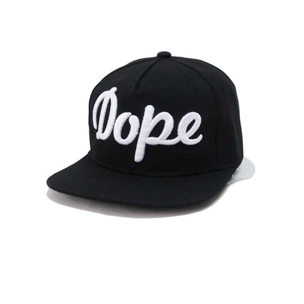 "A cotton snapback hat that reads ""dope"". Unisex. black"