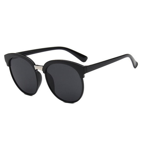A simply and classically designed pair of sunglasses. In black or gray tint. black