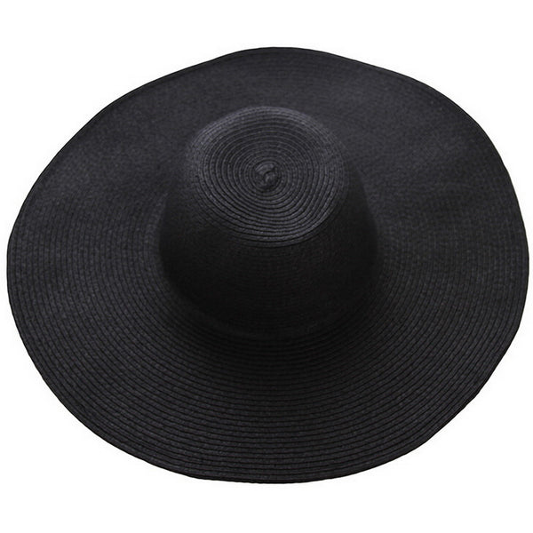 "A classic wide brim hat in rich solid colors. Wardrobe staple. ~22""  black"