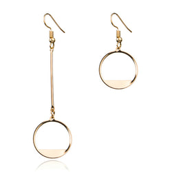These unique earrings feature a circle partly filled with either gold or silver, with one longer in length. gold