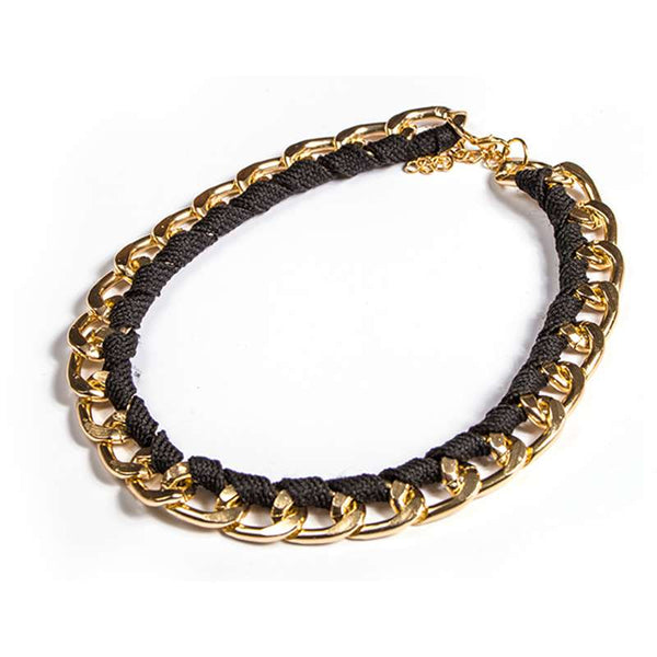 This unique choker is a gold link chain with ribbon woven in. black