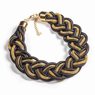 The bold braided look of these chokers adds a fun and playful style to this accessory, which can be dressed up or down. black