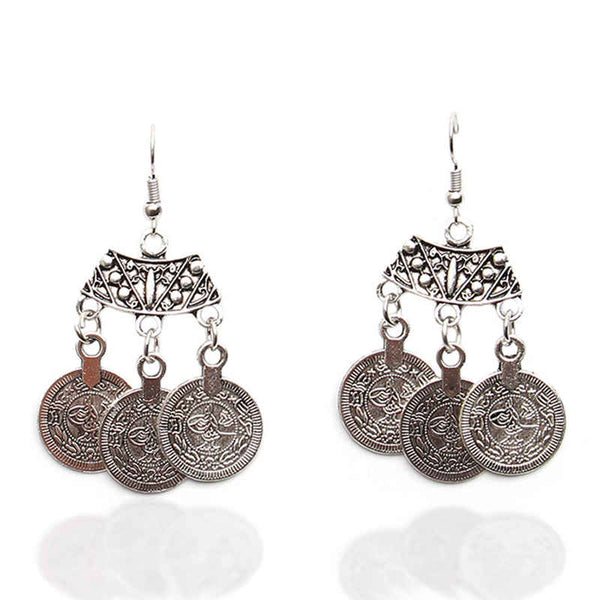 Antique silver medallions give these drop earrings a unique a beautiful look.