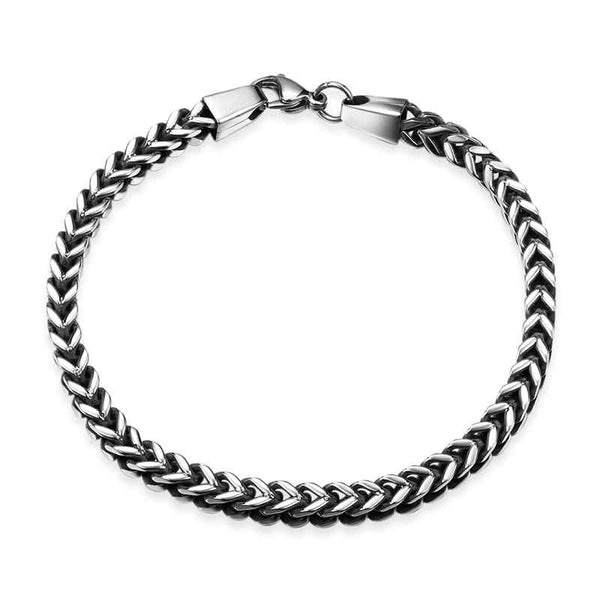 Vintage stainless steel give this thick chain link bracelet a bold yet simple look. Classic.