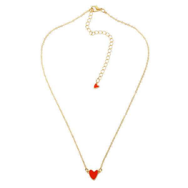 Gold plated chain with a heart pendant. A mini heart is also accompanied on the latch.