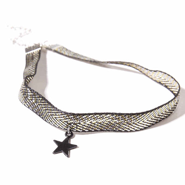 "A gunmetal star pendant along a fabric chain, with silver closure. Adjustable ~13""."