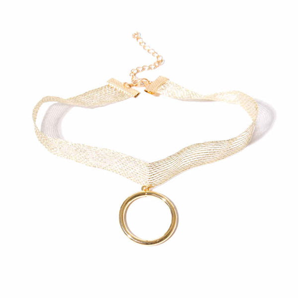 "A shimmery band of lace is outfitted with a simplistic gold and silver plated ""O"" chic, sexy and sophisticated. Adjustable ~13""  gold"