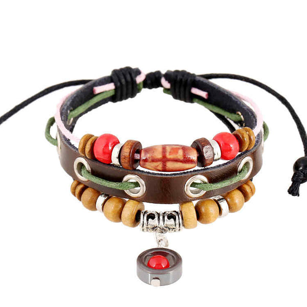 Handmade from leather and designed with beads the unique look of this adjustable bracelet is eye-catching.