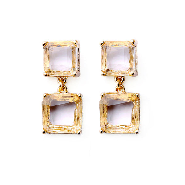These earrings have a classic vintage look two gold blocks inlaid with glass.