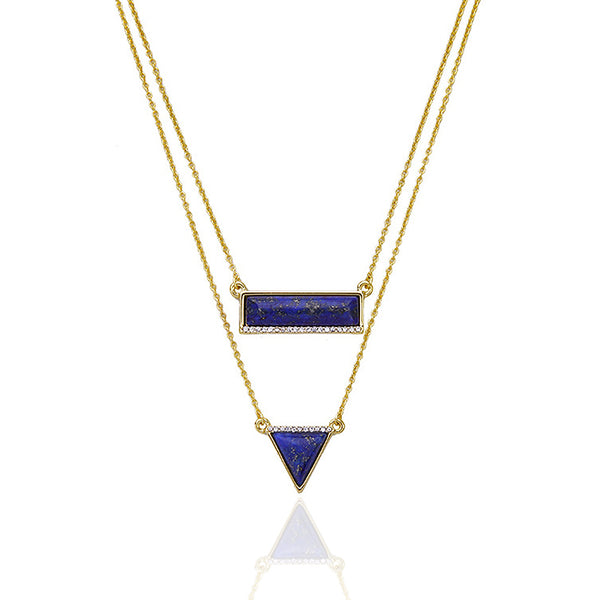 Double Layered Rectangle & Triangle Necklace