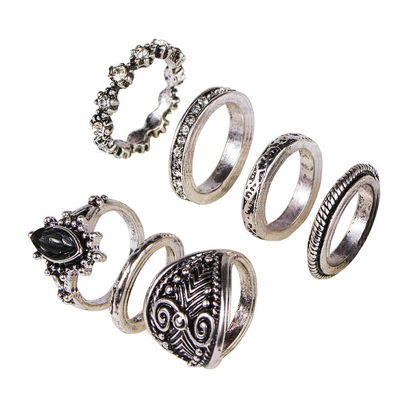 Vintage silver midi ring set with 7 pieces, mix, match, wear at once, or separate. Crystal and stone designs.