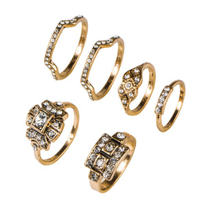 A six ring set adorned with crystal perfect for wearing all together or separate.