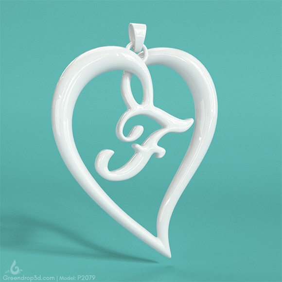 P2079 - F within Heart Pendant - greendrop3d
