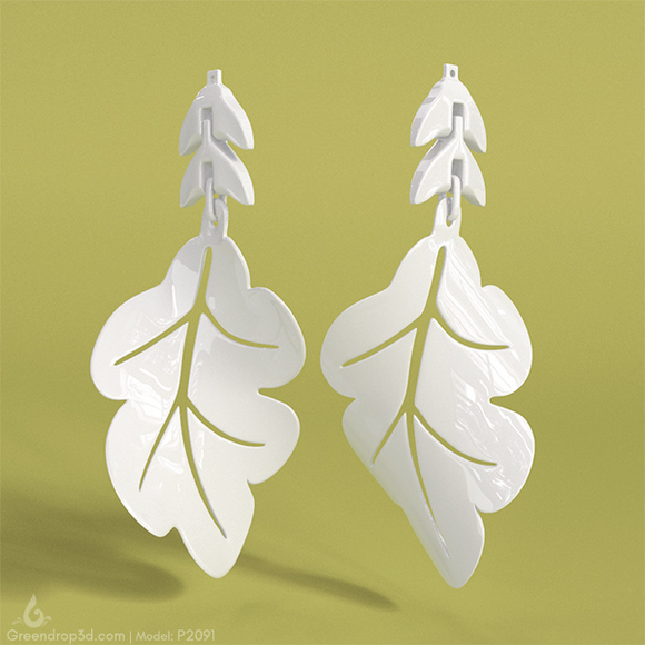 P2091 -  Leaf Earrings - greendrop3d