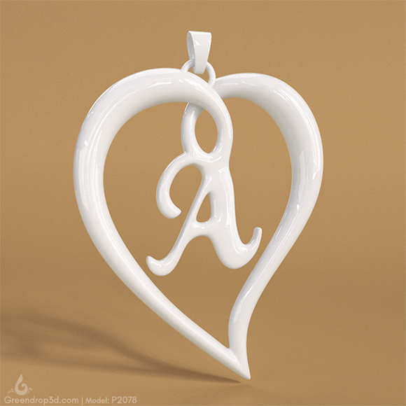 P2078 - A within Heart Pendant - greendrop3d
