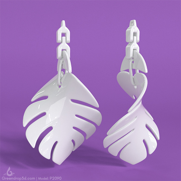 P2090 - Fig Leaf Earrings - greendrop3d