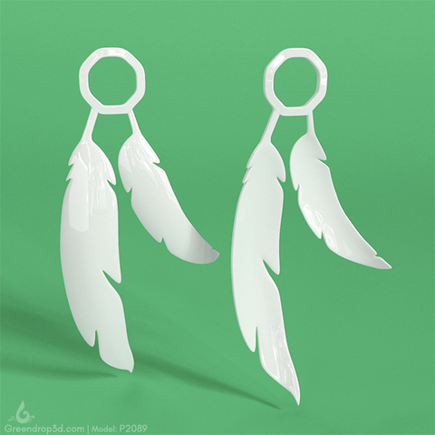 Feather Earrings - greendrop3d