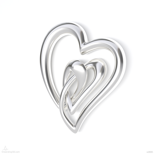 Double Hearts Pendant I - greendrop3d