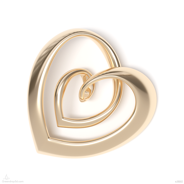 Double Hearts Pendant II - greendrop3d