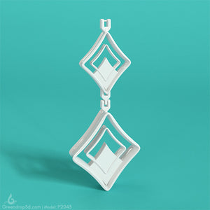 P2043 - Diamond Earring - greendrop3d