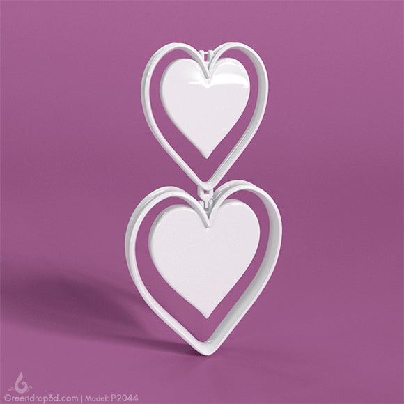 P2044 - Heart Earring - greendrop3d
