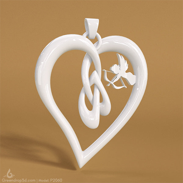 P2060 - Angel within Heart Pendant - greendrop3d