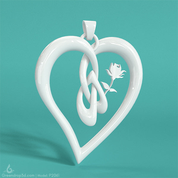 Rose within Heart Pendant - greendrop3d