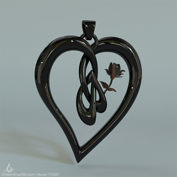 P2061 - Rose within Heart Pendant - greendrop3d