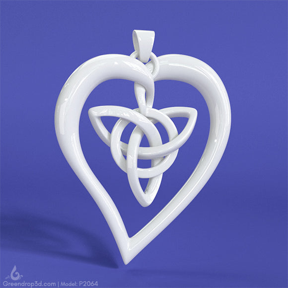 P2064 - Lotus Heart Pendant - greendrop3d