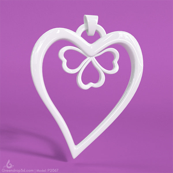 Flower within Heart Pendant - greendrop3d