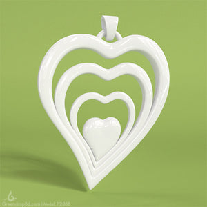 P2068 - Heart Wave Pendant - greendrop3d