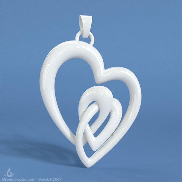 P2069 - Double Heart Pendant - greendrop3d