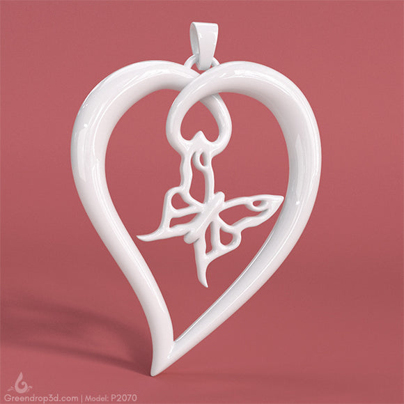 P2070 - Butterfly within Heart Pendant - greendrop3d