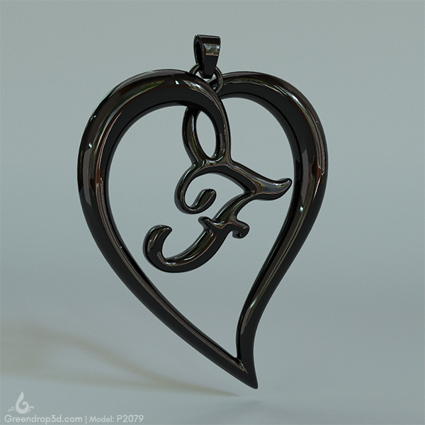 F within Heart Pendant - greendrop3d