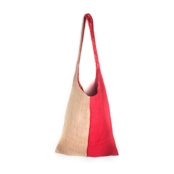 Color Block Jute Shoulder Tote - Red