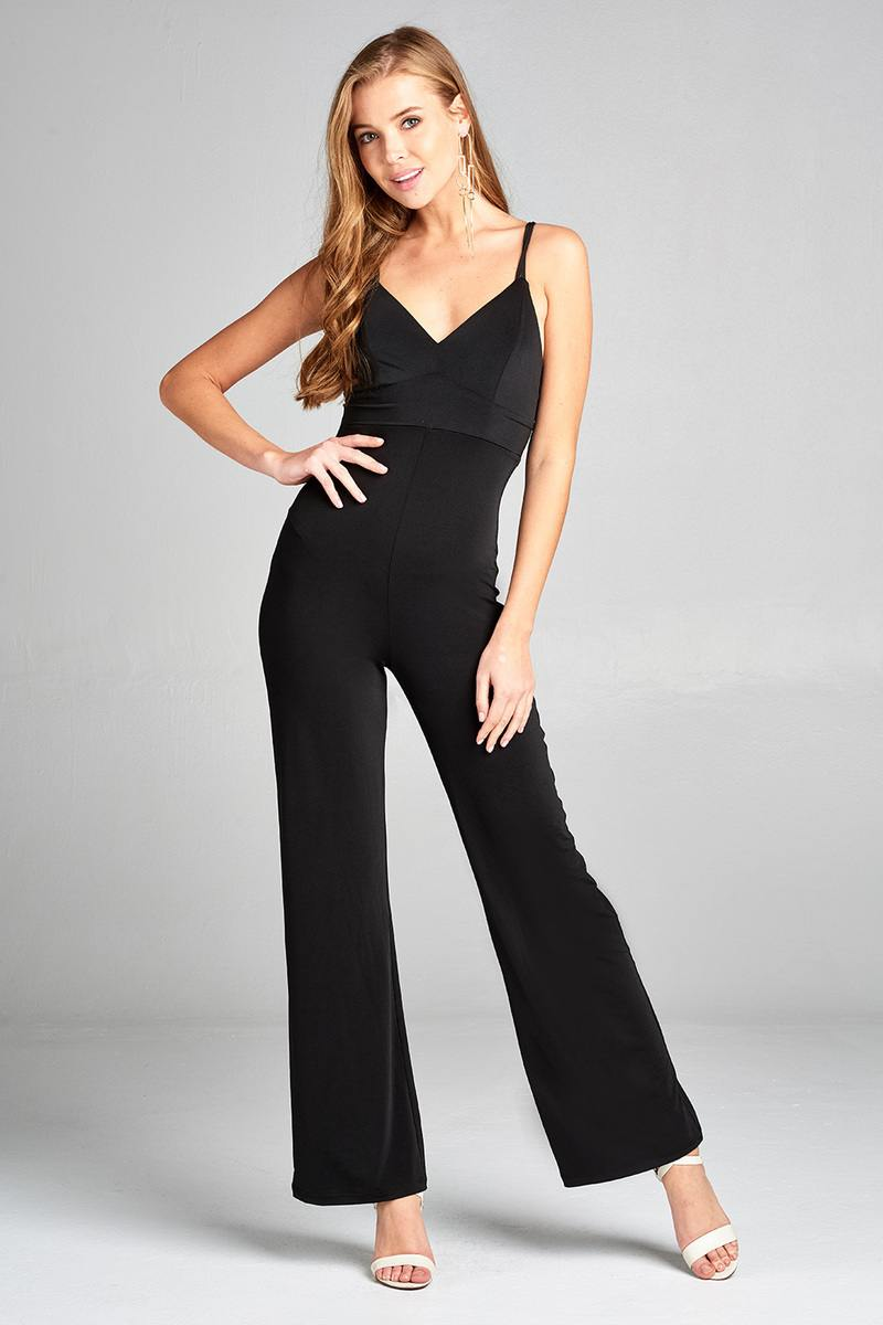 Ladies fashion v-neck w/back cross strap long leg poly spandex knit jumpsuit