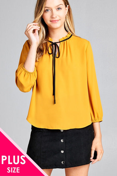Ladies fashion plus size 3/4 sleeve contrast color tie woven top