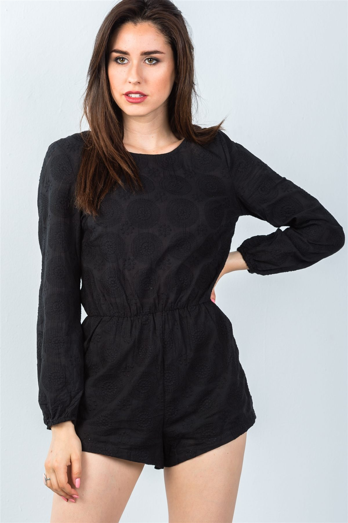 Ladies fashion black double tie-back long sleeve romper